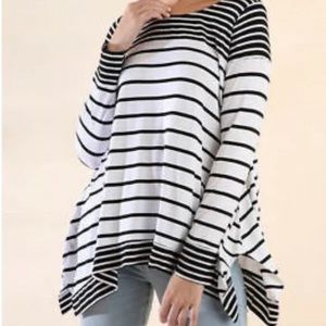 Umgee Stripe Tunic Top Long Sleeve Small